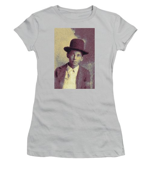 Unknown Boy In A Bowler Hat Women's T-Shirt (Junior Cut) by Matt Lindley