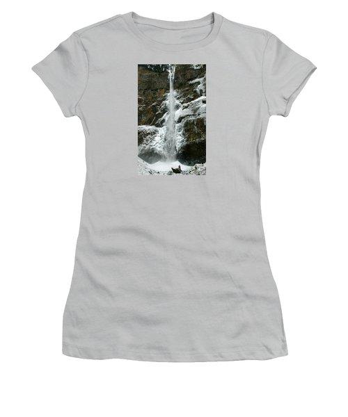 Upper Multnomah Falls Ice Women's T-Shirt (Athletic Fit)