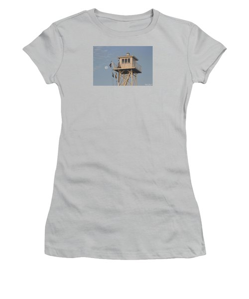 Women's T-Shirt (Junior Cut) featuring the photograph Us Flag Waves At The Full Moon by Robert Banach