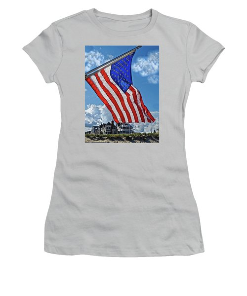 Us Flag,ocean Grove,nj Flag Women's T-Shirt (Junior Cut) by Joan Reese