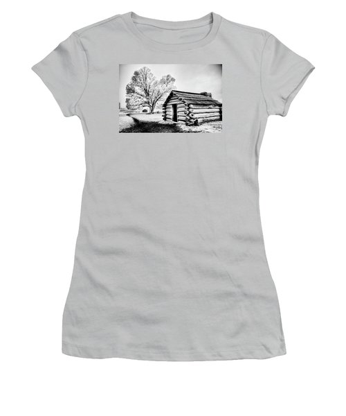 Women's T-Shirt (Junior Cut) featuring the photograph Valley Forge Winter Troops Hut                           by Paul W Faust - Impressions of Light