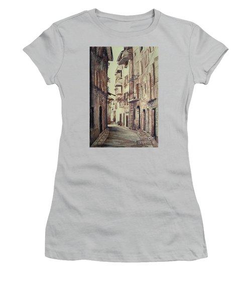 Women's T-Shirt (Junior Cut) featuring the drawing Verona Drawing Of A Narrow Street by Maja Sokolowska
