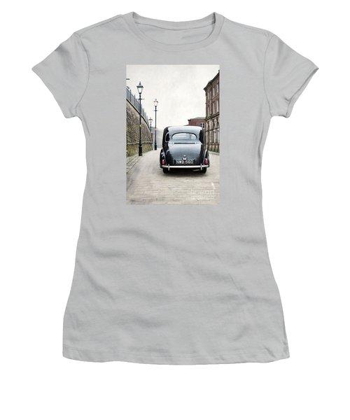 Vintage Car On A Cobbled Street Women's T-Shirt (Junior Cut) by Lee Avison