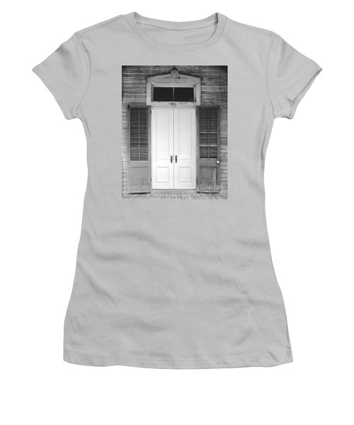 Women's T-Shirt (Junior Cut) featuring the photograph Vintage Tropical Weathered Key West Florida Doorway by John Stephens
