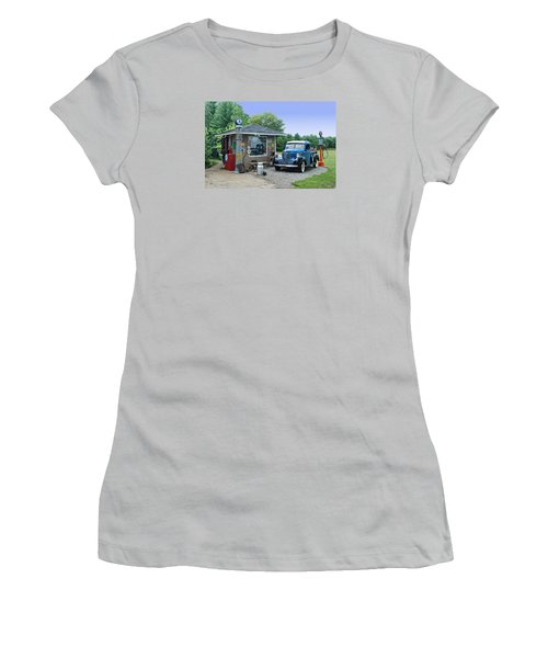 Women's T-Shirt (Junior Cut) featuring the photograph Vintage Truck And Filling Station by Judy  Johnson