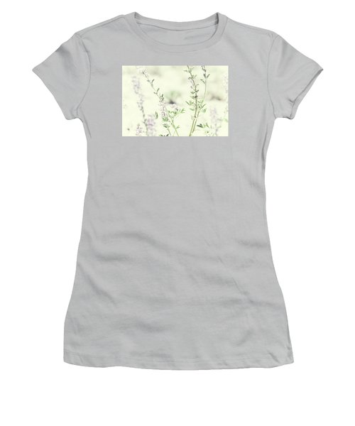 Violet And Green Bloom Women's T-Shirt (Athletic Fit)