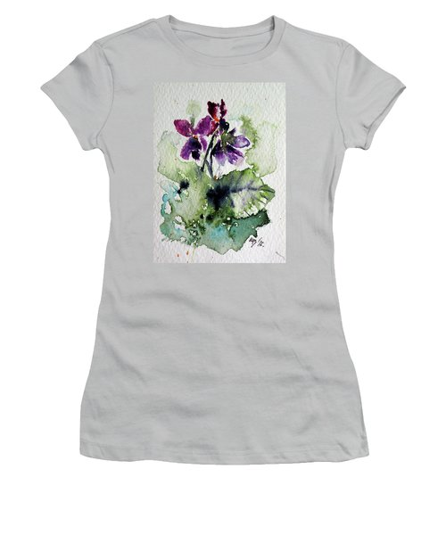 Women's T-Shirt (Junior Cut) featuring the painting Violet Iv by Kovacs Anna Brigitta