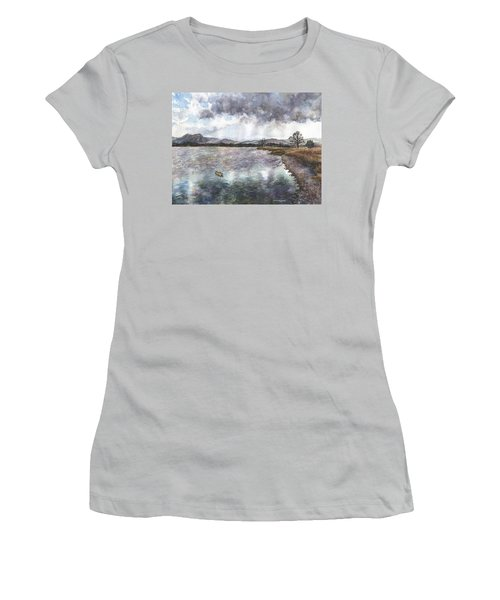 Women's T-Shirt (Junior Cut) featuring the painting Walden Ponds On An April Evening by Anne Gifford