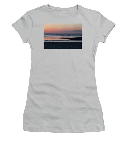 Walking Dogs On The Beach Women's T-Shirt (Athletic Fit)