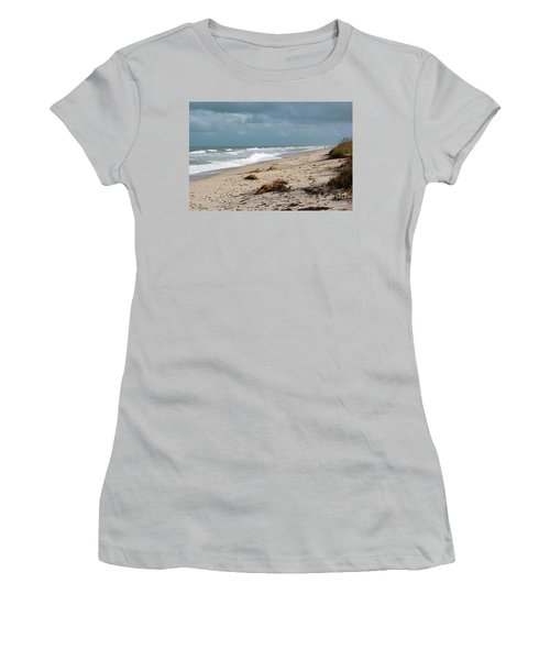 Walks On The Beach Women's T-Shirt (Junior Cut) by Megan Dirsa-DuBois
