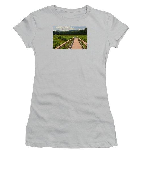 Walkway To A Mountain Color Women's T-Shirt (Junior Cut) by Nancy De Flon