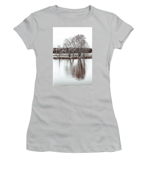 Women's T-Shirt (Junior Cut) featuring the photograph Water And Trees by Wade Brooks