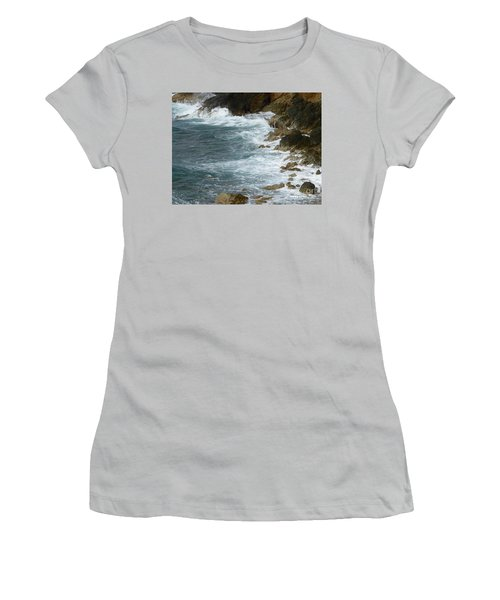 Waves Lashing Rocks Women's T-Shirt (Junior Cut) by Margaret Brooks