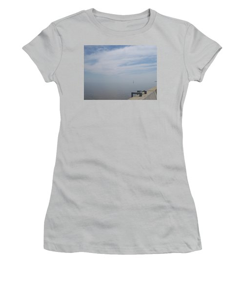 Women's T-Shirt (Junior Cut) featuring the photograph Where Water Meets Sky by Mary Mikawoz