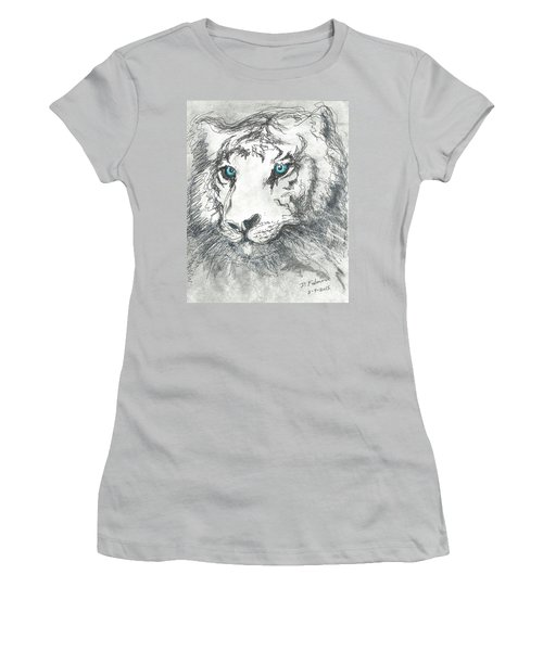 White Bengal Tiger Women's T-Shirt (Junior Cut) by Denise Fulmer