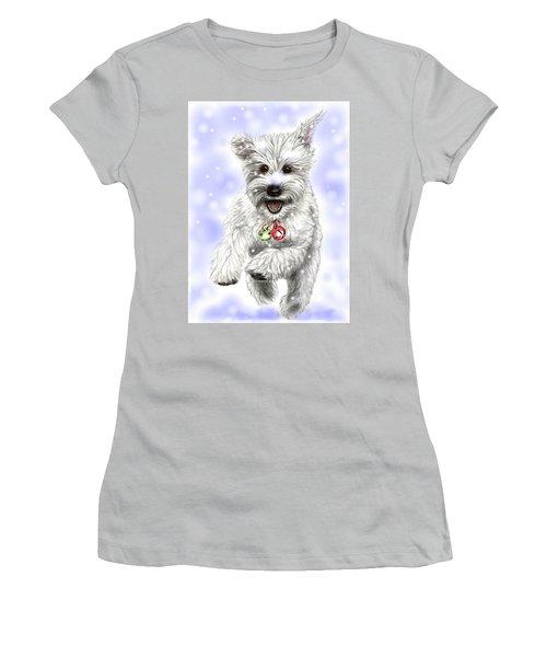 White Christmas Doggy Women's T-Shirt (Junior Cut) by Heidi Kriel