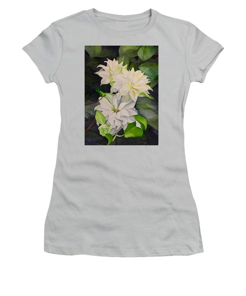 White Clematis Women's T-Shirt (Athletic Fit)