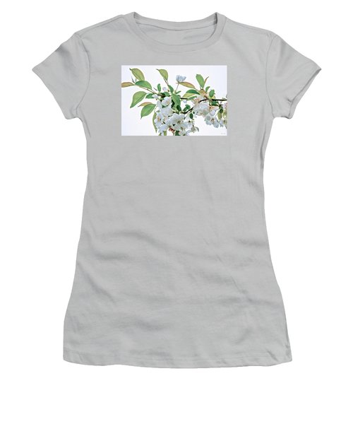 White Crabapple Blossoms Women's T-Shirt (Junior Cut) by Skip Tribby
