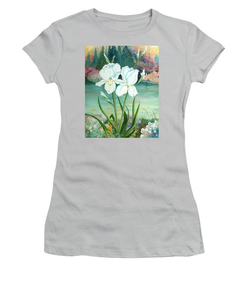 White Iris Love Women's T-Shirt (Athletic Fit)