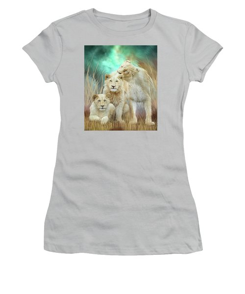 Women's T-Shirt (Athletic Fit) featuring the mixed media White Lion Family - Mothering by Carol Cavalaris