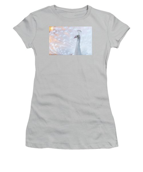 Women's T-Shirt (Junior Cut) featuring the photograph White Peacock by Sebastian Musial