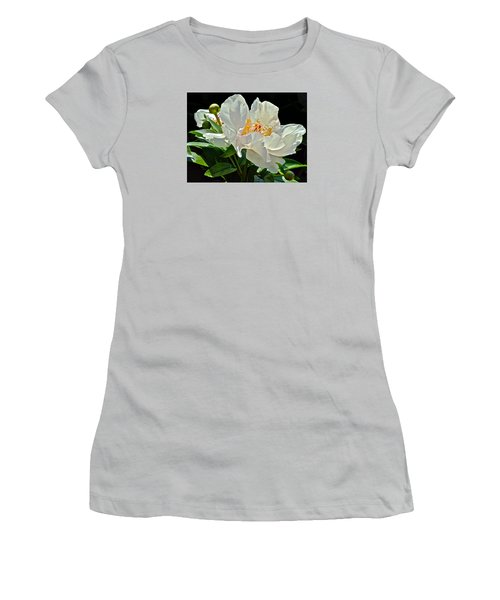 White Peony Women's T-Shirt (Junior Cut) by Janis Nussbaum Senungetuk