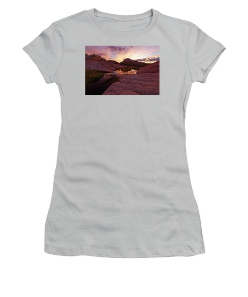 Women's T-Shirt (Junior Cut) featuring the photograph White Pocket Sunset by Jonathan Davison