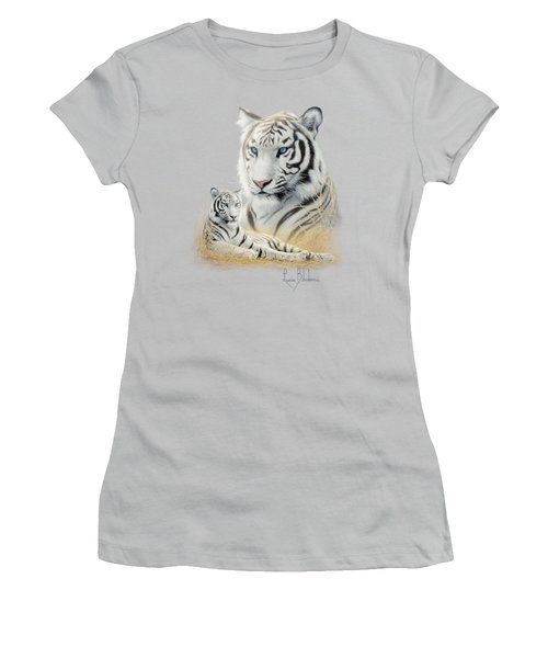 White Tiger Women's T-Shirt (Junior Cut) by Lucie Bilodeau