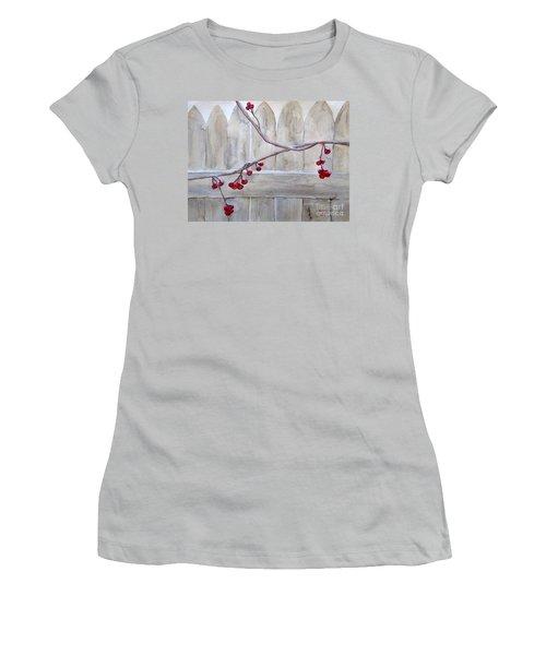 Winter Berries Watercolor Women's T-Shirt (Junior Cut)