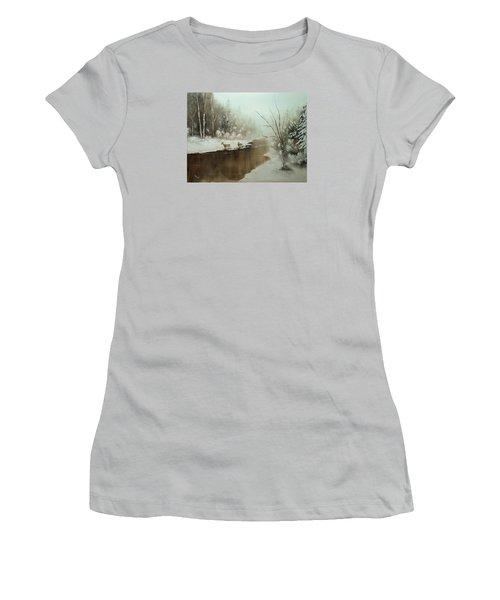 Winter Deer Run Women's T-Shirt (Junior Cut) by Chris Fraser