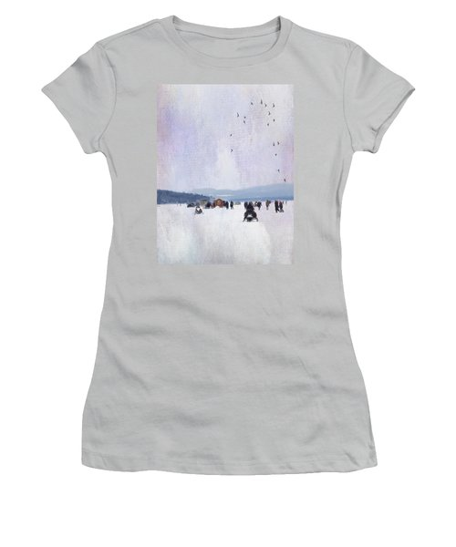 Winter Fun On The Lake Women's T-Shirt (Junior Cut) by Betty Pauwels