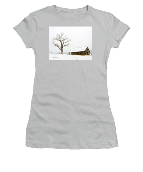 Winter Storm On The Farm Women's T-Shirt (Junior Cut) by George Randy Bass