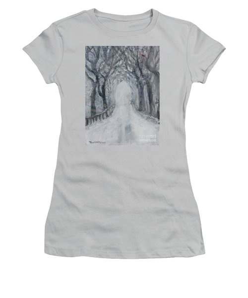 Women's T-Shirt (Athletic Fit) featuring the painting Winter Tree Tunnel by Robin Maria Pedrero