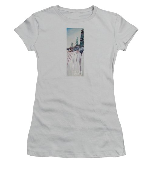 Women's T-Shirt (Junior Cut) featuring the painting Winter Waterfall by Marilyn  McNish