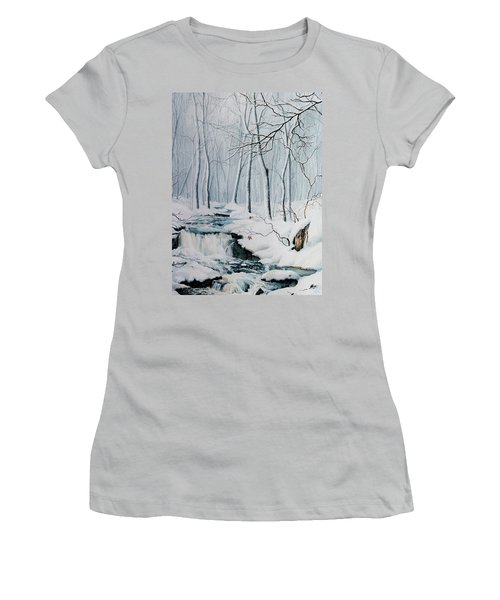 Women's T-Shirt (Athletic Fit) featuring the painting Winter Whispers by Hanne Lore Koehler