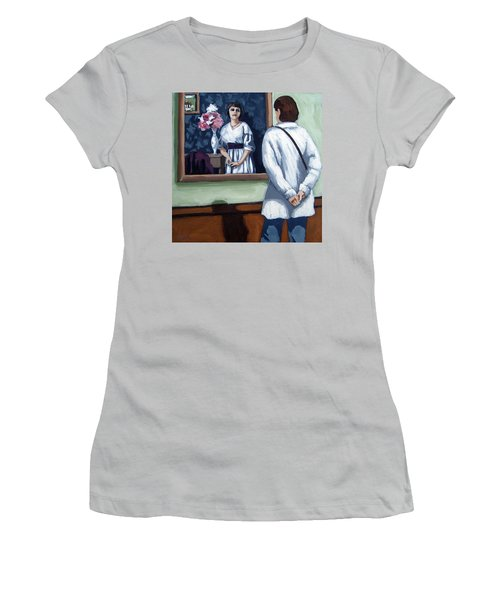 Women's T-Shirt (Junior Cut) featuring the painting Woman At Art Museum Figurative Painting by Linda Apple