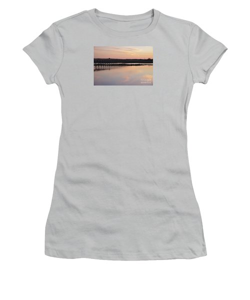 Wooden Bridge And Twilight Women's T-Shirt (Junior Cut) by Angelo DeVal