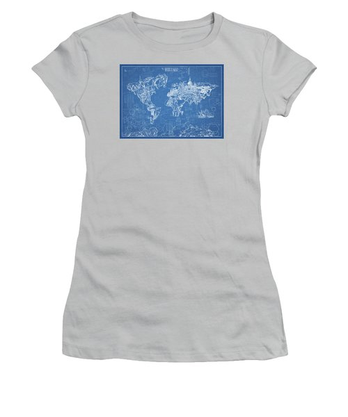 Women's T-Shirt (Junior Cut) featuring the digital art World Map Blueprint by Bekim Art