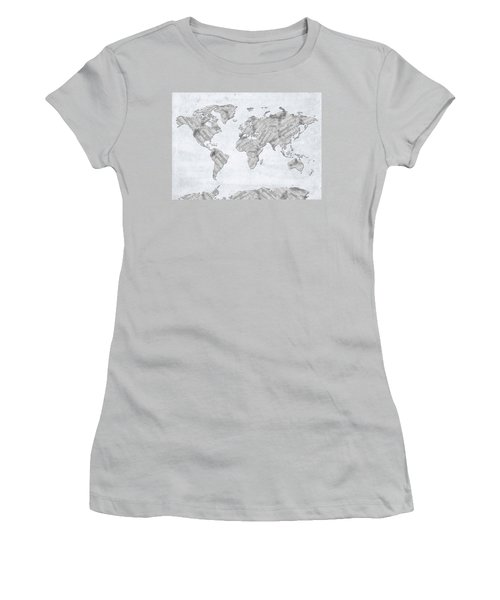 Women's T-Shirt (Junior Cut) featuring the digital art World Map Music 10 by Bekim Art