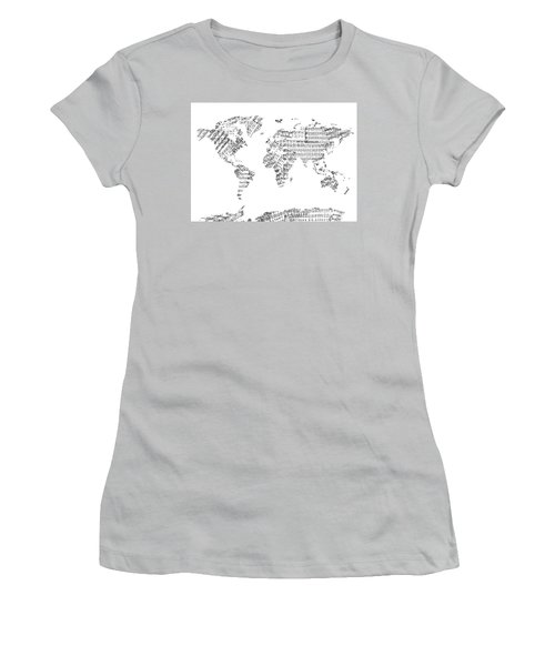 Women's T-Shirt (Junior Cut) featuring the digital art World Map Music 8 by Bekim Art