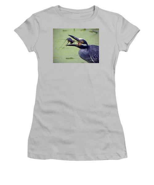 Women's T-Shirt (Junior Cut) featuring the photograph Yellow Crowned Night Heron  by Savannah Gibbs