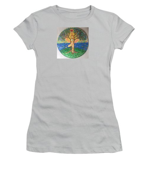 Yoga Tree Pose Women's T-Shirt (Athletic Fit)