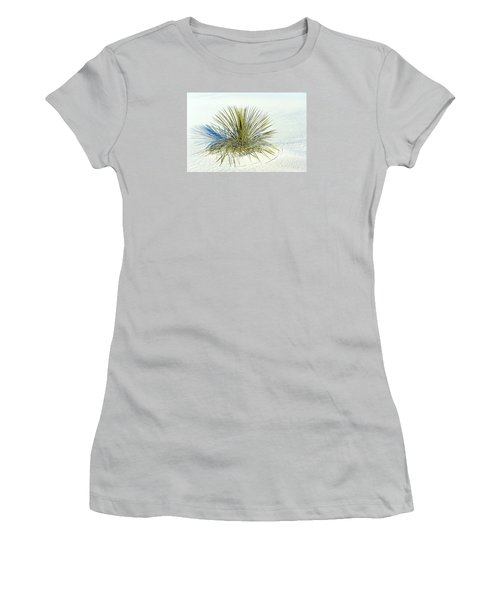 Women's T-Shirt (Junior Cut) featuring the photograph Yucca In White Sand by Jerry Cahill