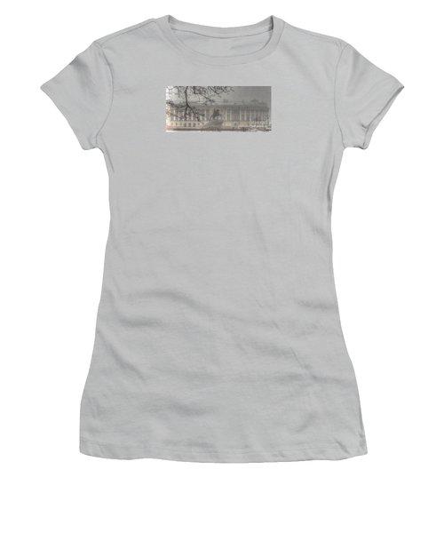 Women's T-Shirt (Junior Cut) featuring the pyrography Yury Bashkin The Fog Peterburg by Yury Bashkin