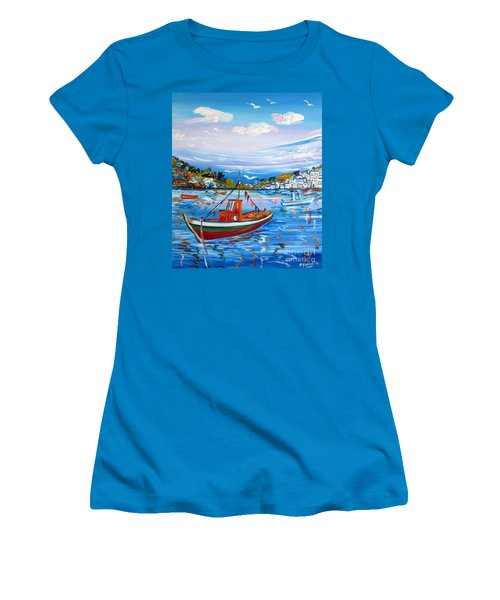 Women's T-Shirt (Junior Cut) featuring the painting  Little Fisherman Boat  by Roberto Gagliardi