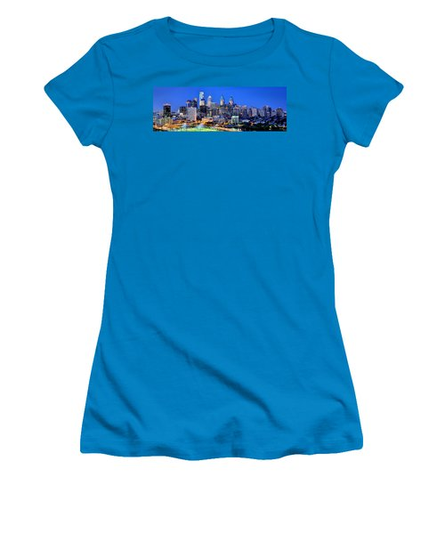 Philadelphia Skyline At Night Evening Panorama Women's T-Shirt (Athletic Fit)
