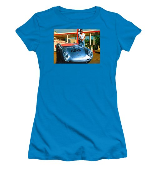James Dean Filling His Spyder With Gas Women's T-Shirt (Athletic Fit)
