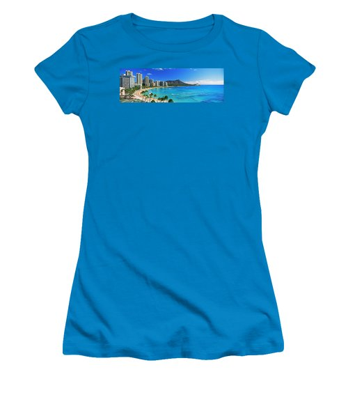Palm Trees On The Beach, Diamond Head Women's T-Shirt (Athletic Fit)