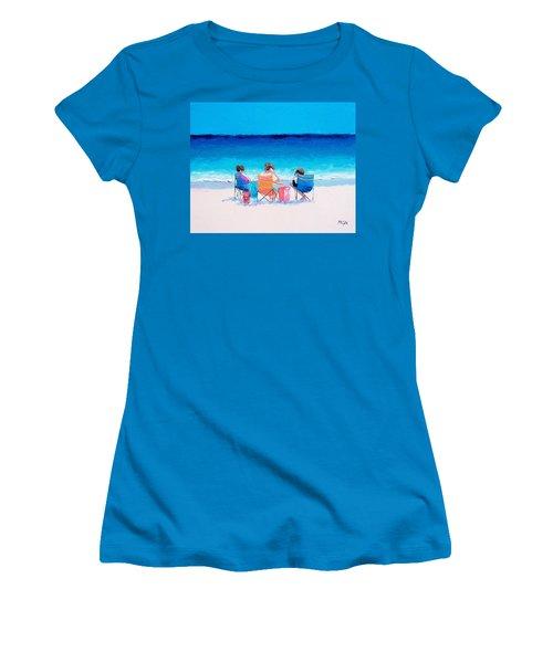 Beach Painting 'girl Friends' By Jan Matson Women's T-Shirt (Junior Cut) by Jan Matson