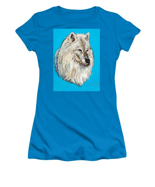 Women's T-Shirt (Junior Cut) featuring the painting Alaska White Wolf by Bob and Nadine Johnston